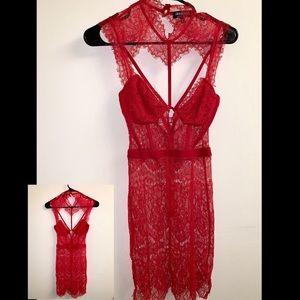 Mini Red Lace dress from Fashion Nova.